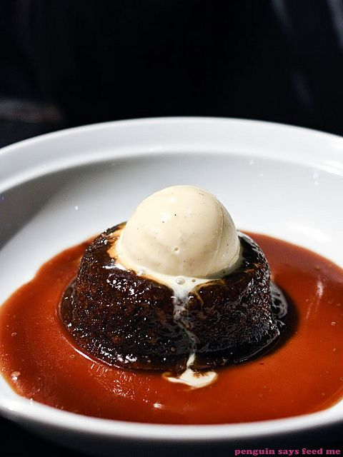 Warm sticky date pudding with salted caramel sauce and vanilla bean ice cream from Jones the Grocer