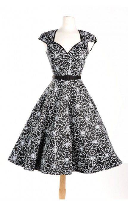 Pinup Couture - Vintage Goth Pinup Capsule Collection - Heidi Dress in Spiderweb Print | Pinup Girl Clothing