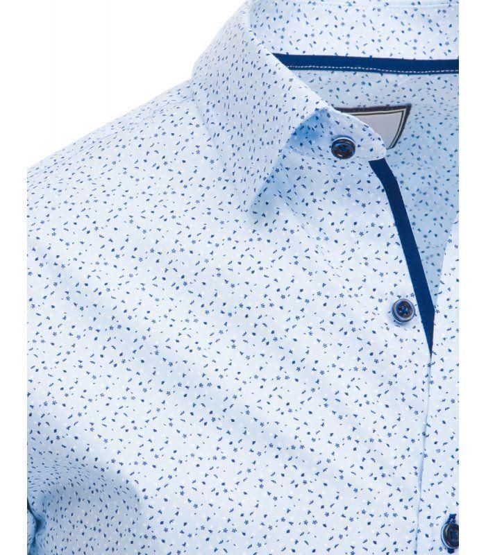 Blankytná pánska košela so vzorom a dlhými rukávmi