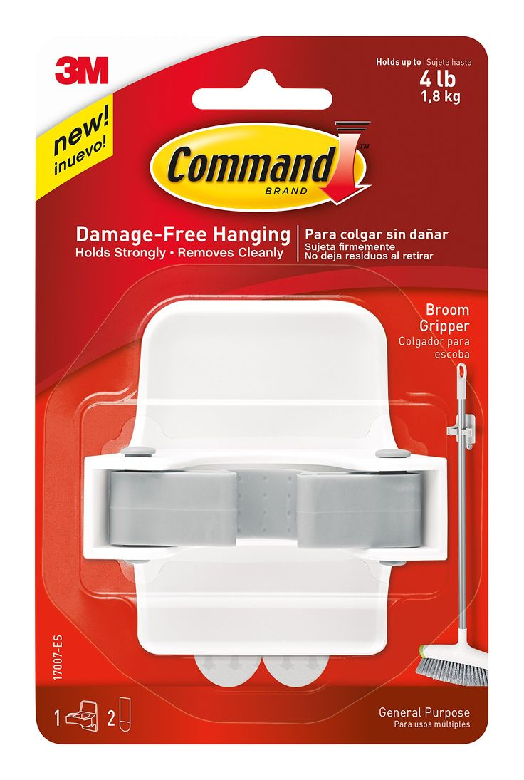 Amazon.com: Command Broom Gripper, White with Grey Band: Storage & Organization