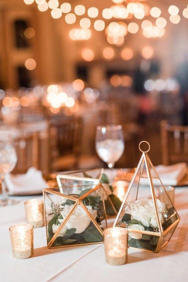 50 Glam Geometric Terrarium Wedding Ideas Terrarium Wedding Candle Wedding Centerpieces Wedding Candles