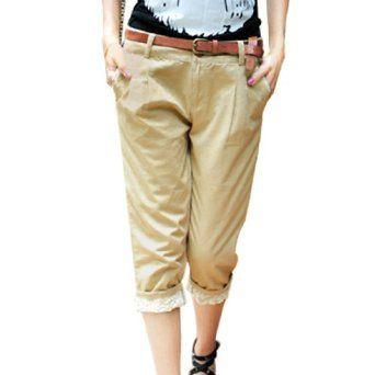 Allegra K Ladies Zip Fly Button Closure Casual Capri Pants Khaki M Allegra K. $16.28