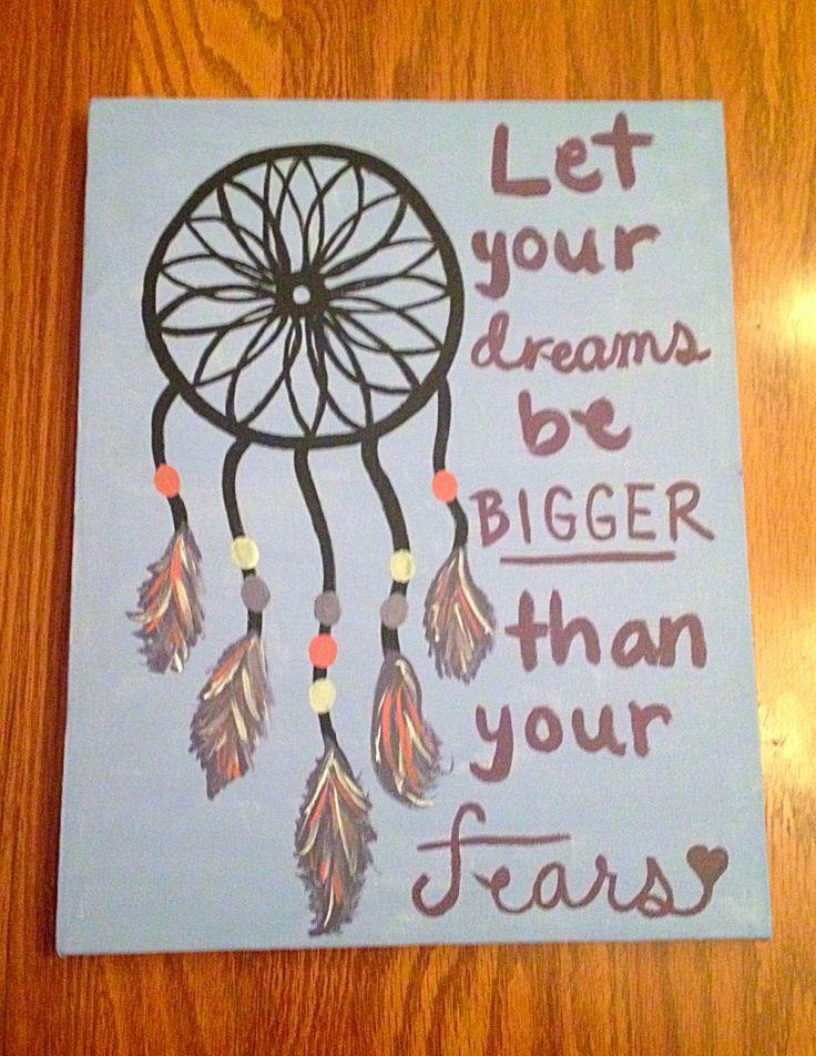 Dream catcher canvas~let your faith be bigger than your fears #canvas #canvasart #diy #dreamcatcher