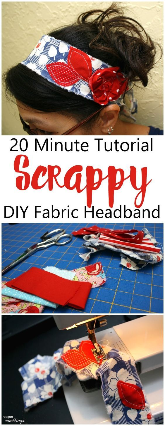 Just made one of these DIY headbands in 10 minutes and it turned out great! Perfect use of fabric scraps, easy sewing crafts tutorial and pattern and love having my hair up in it!