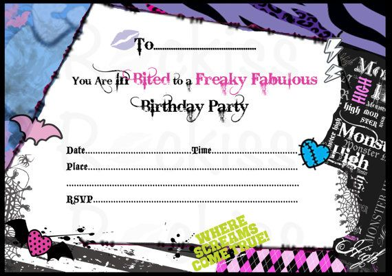 Monster High Inspired Birthday Invitation. Instant download digital file.