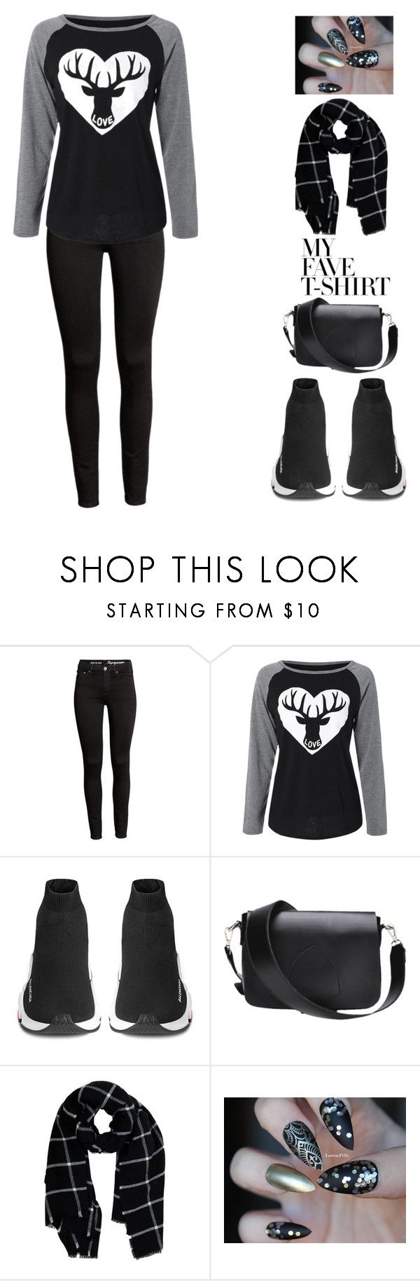 """""""Dress Up a T-Shirt"""" by beautygoals ❤ liked on Polyvore featuring Balenciaga, Warehouse and MyFaveTshirt"""
