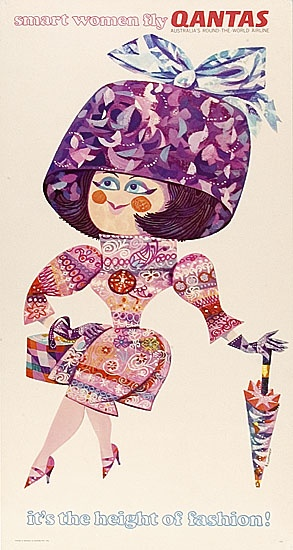 """#c 1960s Qantas travel poster, """"smart women fly QANTAS,"""" We guarantee the best price Easily find the best price and availabilty from all travel websites at once. We find more hotels Access over 2 million hotel and flight deals from 100's of travel sites.We cover the world over 220 countries, 26 languages and 120 currencies. multicityworldtravel.com"""