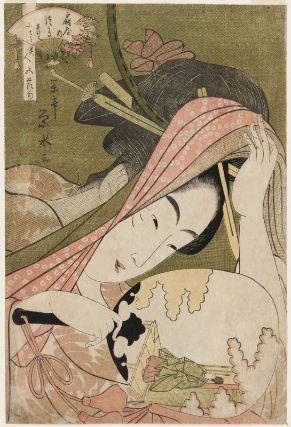 Tsukasa of the Ôgiya, kamuro Akeba and Kochô, from the series Beauties for the Five Festivals (Bijin gosekku)  「美人五節句 扇屋内 つかさ あけは 小てう」  Japanese, Edo period, about 1795–97 (Kansei 7–9)  Artist Ichirakutei Eisui, Japanese, active 1790–1823, Woodblock print (nishiki-e); ink and color on paper
