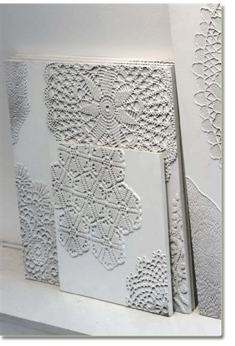 doily on canvas....painted white
