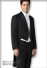 Uniformalwearhouse Full dress tail coats are available in black and white with prices starting at $99.95. Tuxedo tails, tail jackets.