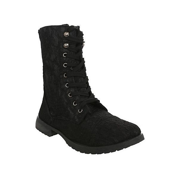 Black Lace Combat Boots | Hot Topic (51 CAD) ❤ liked on Polyvore featuring shoes, boots, lace up shoes, floral boots, lace up military boots, front lace up boots and combat boots