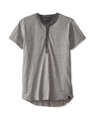 47% OFF Greyers Men's Short Sleeve Slub Jersey Henley (Heather Grey)