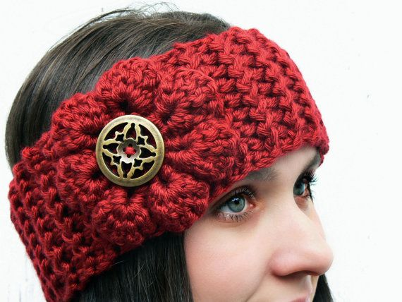 Pick Your Color/ Red Boho Chic Headband Ear by MakingsofShannaTice, $16.85