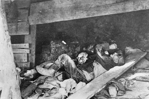 In a trench on Monte San Michele, east of Gradisca, Isonzo Valley. Italian soldiers fallen in action. ITALIAN FIRST WORLD WAR OFFICIAL COLLECTION (Q 65051)