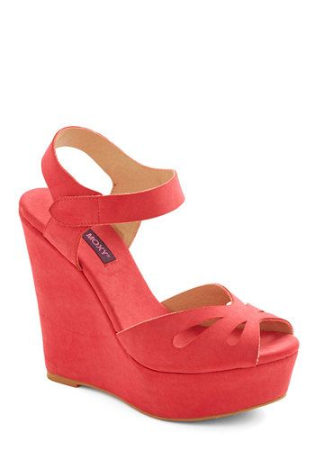 Punch Bowl Planner Heel in Strawberry - Spring, Red, Solid, Cutout, Beach/Resort, Wedge, High, Pink