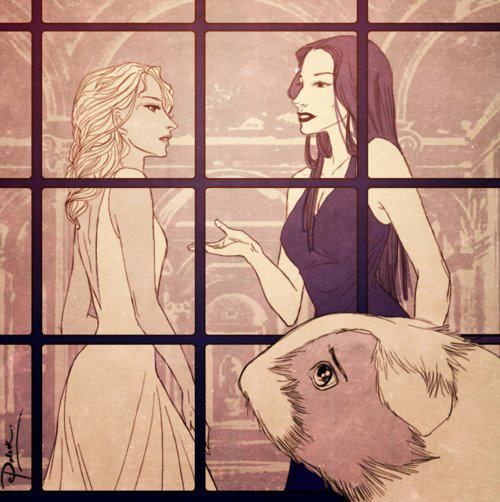 Annabeth and Circe talking while Percy watches. Poor Percy he's so helpless. But, I think he's enjoying the way Annabeth looks.
