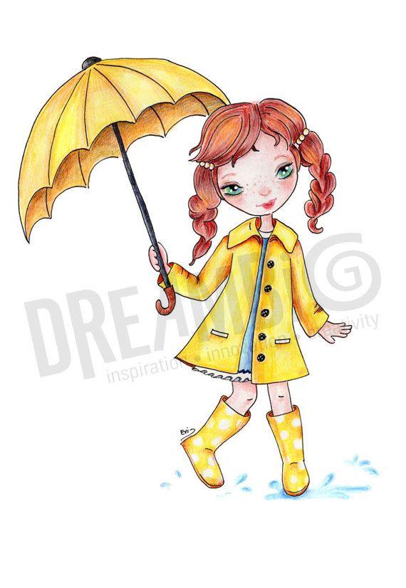 Girl with Umbrella  Digital print yellow by DreamBigArtDesign