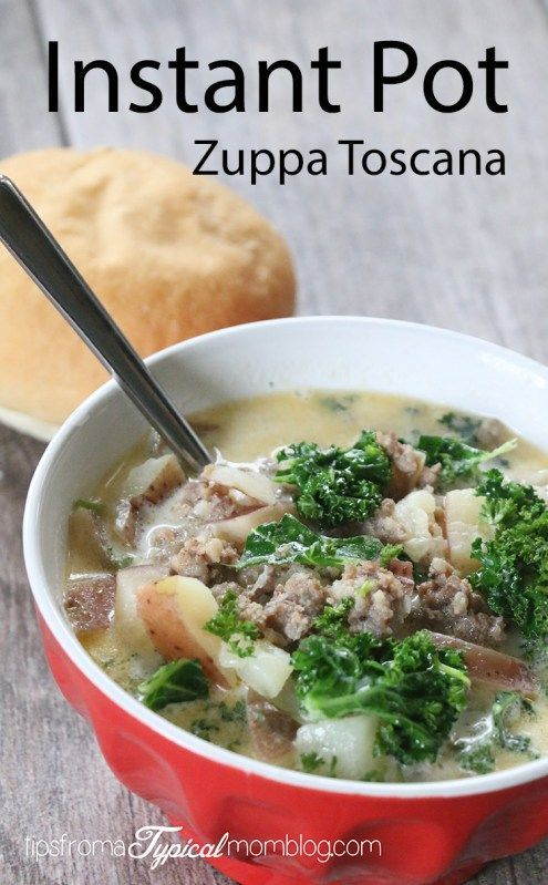 Making this Zuppa Toscana soup at home in your Instant Pot is so easy and quick. A great Italian Sausage and Potato soup for a rainy day. #instantpot #soup #zuppatoscana #olivegarden
