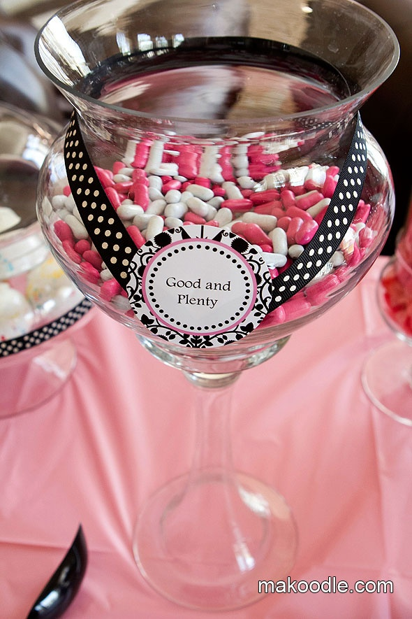 Pink & White Candy Buffet for Baby Shower - decorative apothecary jar