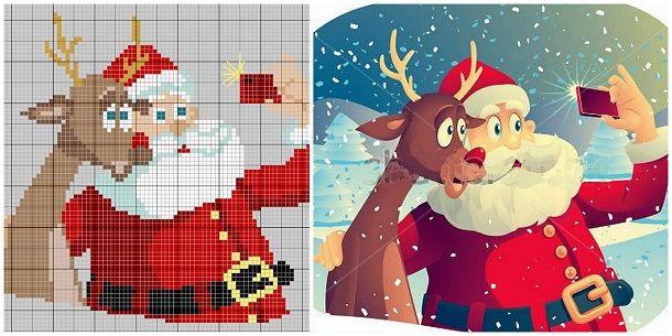 Классические герои и современный сюжет: Санта-Клаус делает селфи со своим оленем. Eщё несколько лет назад этот мотив для вышивки выглядел бы фантастично, и прямо скажем, никому бы в голову не пришло вышивать Деда Мороза, фотографирующего самого себя. Однако, время идёт и возможно, будь Санта существом не выдуманным, наверняка бы постил в Инстаграмм что-нибудь подобное. В общем, французская вышивальщица Clair Gazette вдохновилась селфи с Дедом Морозом и разработала подобную схему вышивки…