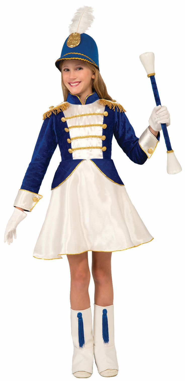 Drum Majorette Girls Child Costume Fancy Dress Hat Feather Blue White Gold New | eBay