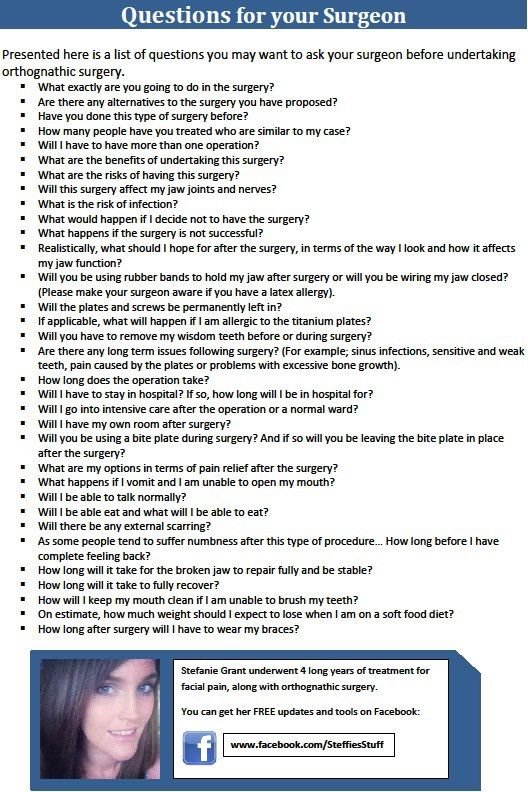 Questions to ask your surgeon before jaw surgery / orthognathic surgery. Check out my blogs: www.jawandface.co.uk