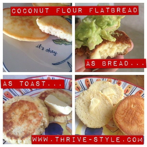 Coconut flour flat bread... This is version 2.0, and I love it so much Ive been eating it everyday in all different ways!