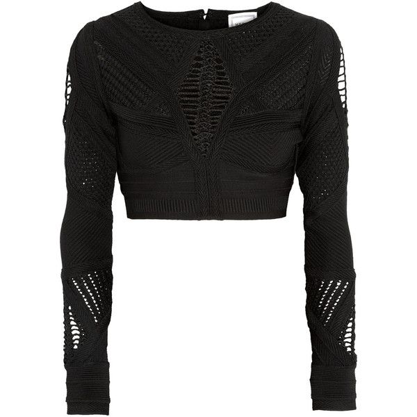 Hervé Léger Crochet-paneled cropped bandage top found on Polyvore