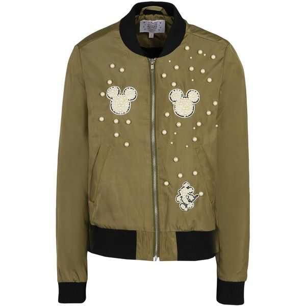 Disney Stars Studios Jacket (£65) ❤ liked on Polyvore featuring outerwear, jackets, military green, army green jackets, green military jacket, brown jacket, olive green jacket and flight jacket
