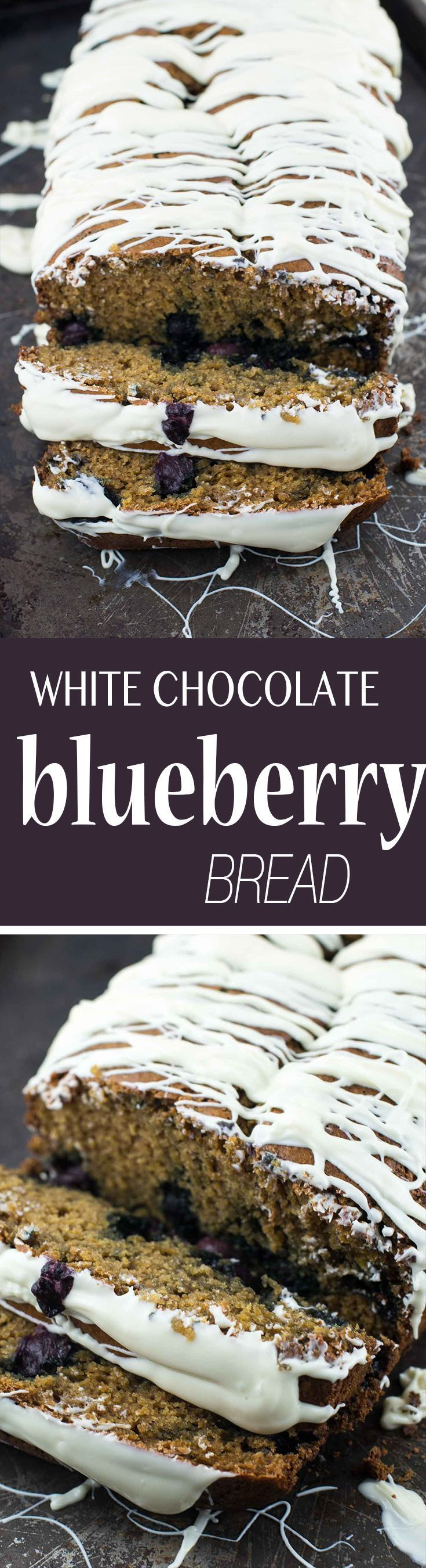 White chocolate blueberry bread recipe is full of healthier ingredients and is an easy and decadent breakfast recipe and can double as a dessert!