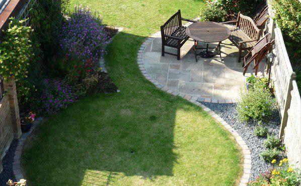 garden design elegant small garden lawn wooden garden furniture