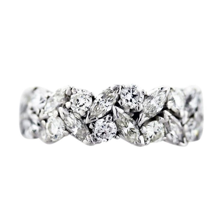 3.5 carat Platinum Marquise and Round Diamond Eternity Band Ring