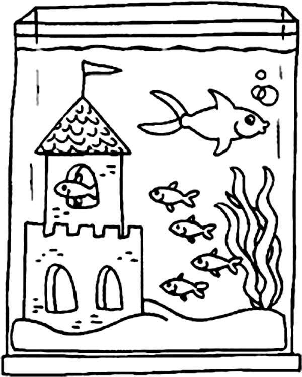 Fish Tank Coloring Page Fish Tank And Castle Inside Coloring Page Netart Coloring Pages Fish Tank Drawing Tank Drawing Aquarium worksheets kindergarten