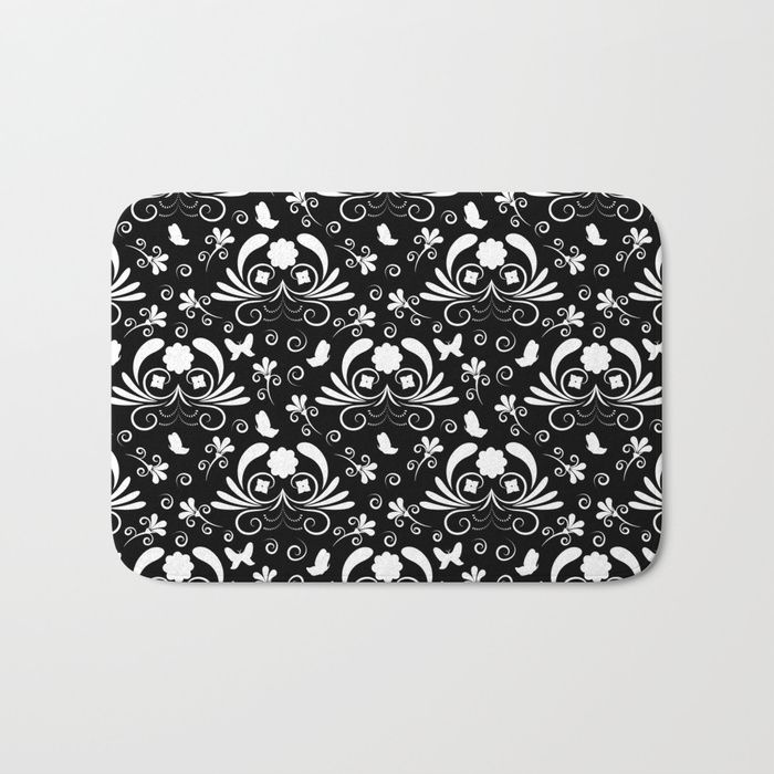 Abstract floral black and white Bath Mat