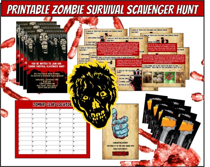 Zombie Apocalypse Game- Are you a survivor?  How well will your friends survive a zombie apocalypse?  This printable scavenger hunt is the perfect party game to find out.  Instant Download!