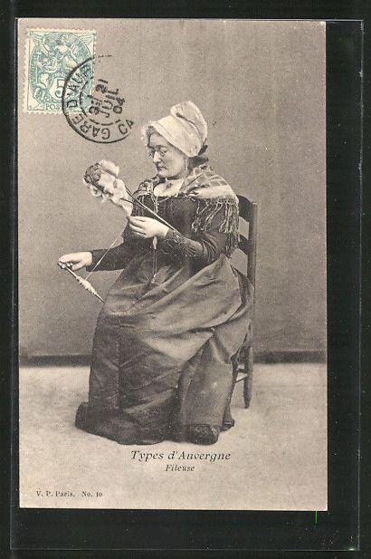 CPA Auvergne Fileuse Spinnerin EN Costume Typique HÄLT Eine Spindel IN DER HA | eBay