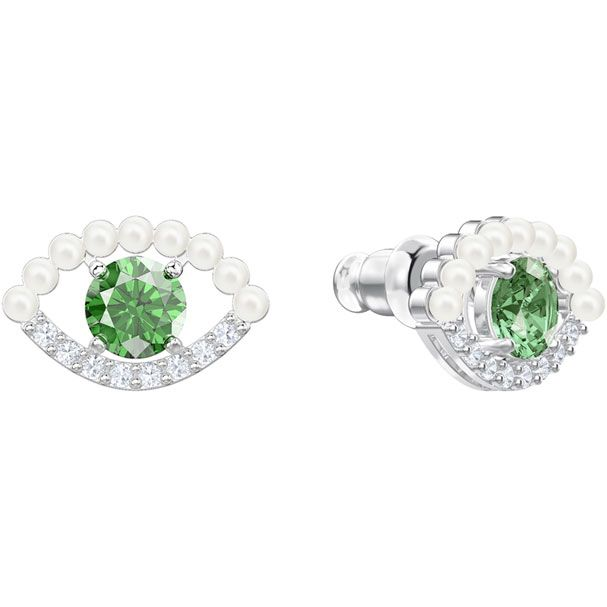 d8af3f41b Luckily Pierced Earrings, Green, Rhodium plating | Bijoux et Pierres ...