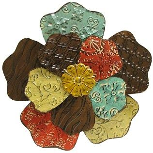 add color texture and dimension to your wall with this 18 colorful flower metal - Metal Flower Wall Decor