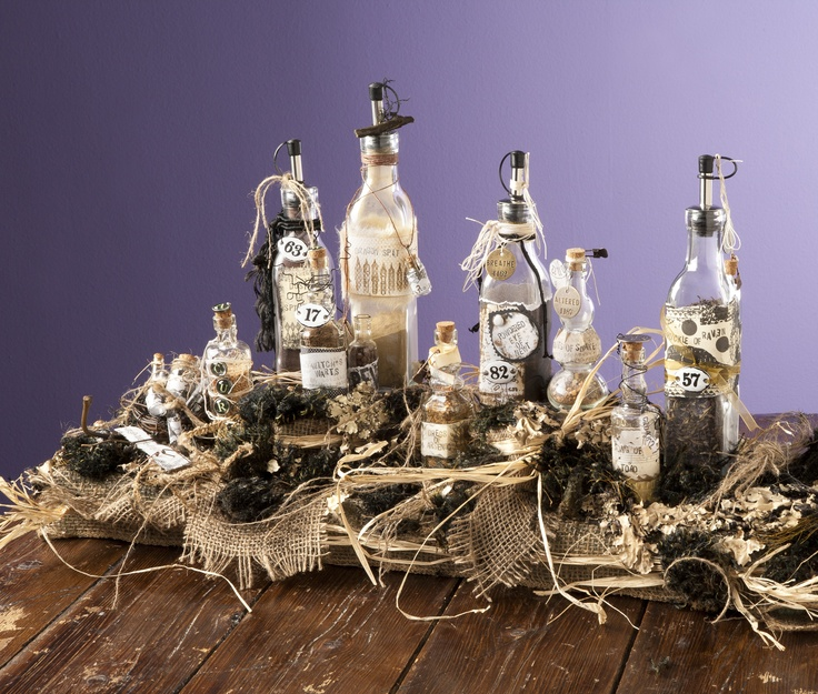 Potion-bottle centerpiece perfect for Halloween parties Follow the link to quite a
