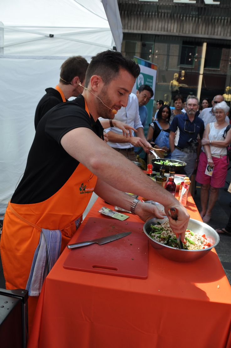 Sprout (Themis & Callum) cooking demonstration at Pitt Street Mall event