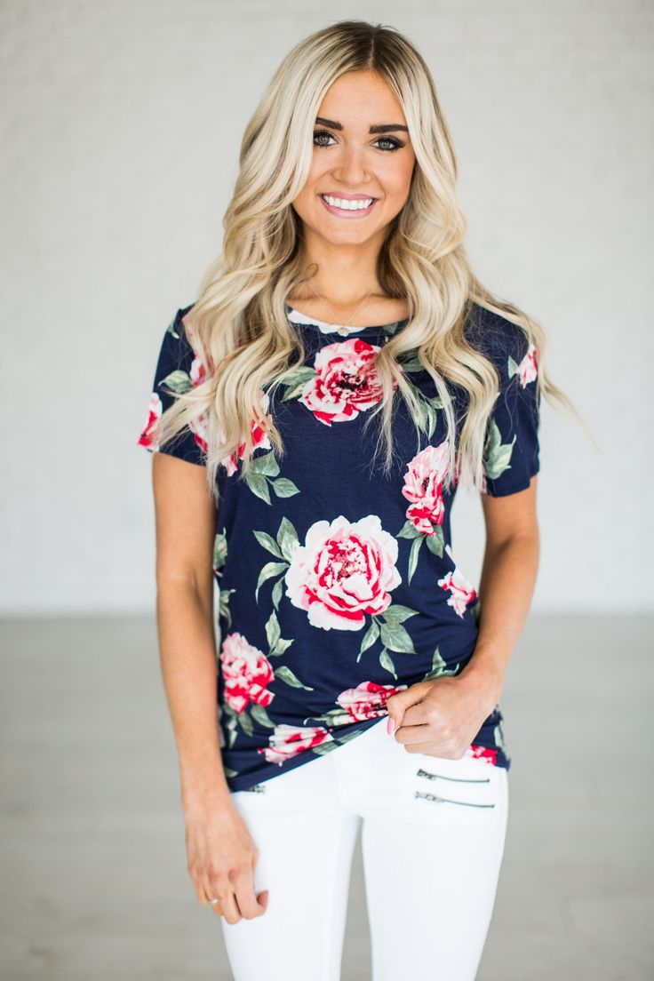 Black t shirt navy pants - Cristen Floral Tee Navy