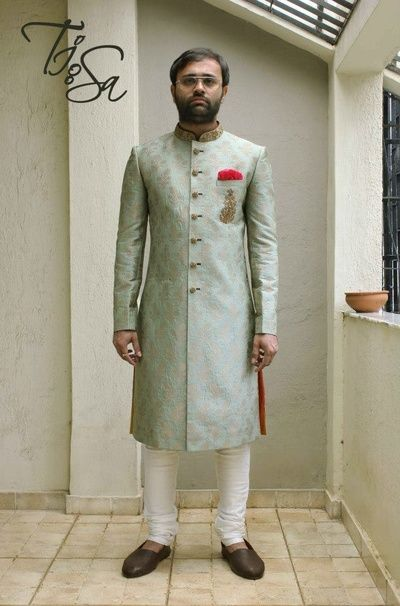 aqua blue sherwani , kim khwab sherwani , silk sherwani , light blue sherwani ,