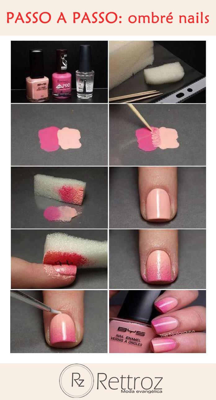 Veja como é simples ficar na moda!  Confira um passo a passo prático para aderir a tendência das unhas com esmalte em degradê.