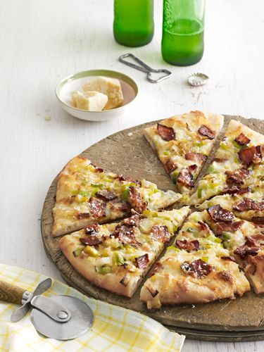 Caramelized-Leek and Bacon Pizza  Serve this savory pizza with a fresh green salad. #myplate #dairy #protein