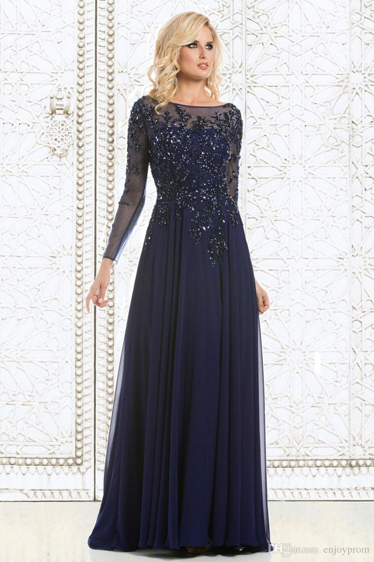 2015 Top Selling Elegant Mother of The Bride Dresses Navy Blue Chiffon See-Through Long Sleeve Sheer Neck Appliques Sequins Evening Dress