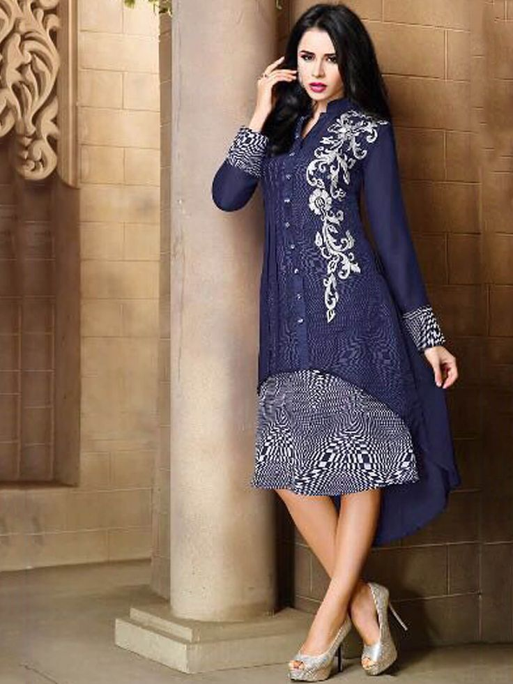 Creative navy blue georgette party wear embroidered kurti. Having fabric georgette and santoon. The ethnic thread work, embroidery work and resham embroidery work for the attire adds a sign of magnificence statement with a look. #mydesiwear #Kurtis #Designerkurtis #Georgette #LongCasualKurtis #TrendyCasualkurtis #PrintedCasualKurti #WeddingCollection #WeddingFashion #StyleBride #WeddingTrendz #PartywearKurtis #StyleWedding