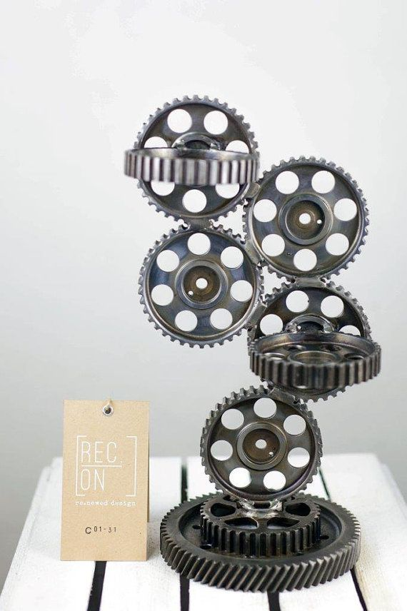 Unique stand made of pulleys cogs Flowerpot holder by RECONrenewed