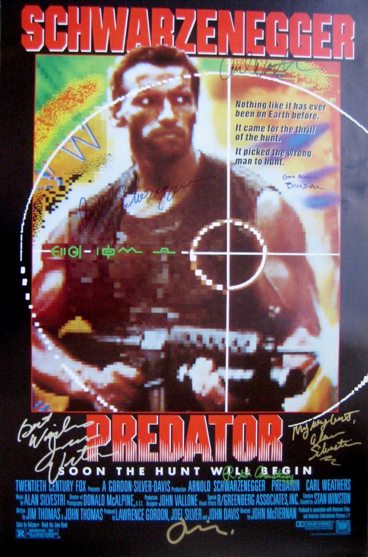 PREDATOR (1987) original movie poster cast signed by Arnold Schwarzenegger (Dutch), Carl Weathers (Dillon),  Bill Duke (Mac), Jesse Ventura (Blain), R.G. Armstrong (General Phillips), Joel Silver (producer), composer Alan Silvestri.