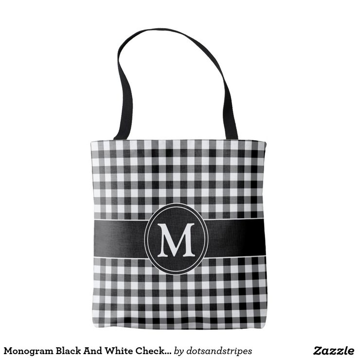 Black And White Checked Tartan Pattern With Customizable Monogram Tote Shopping Bag