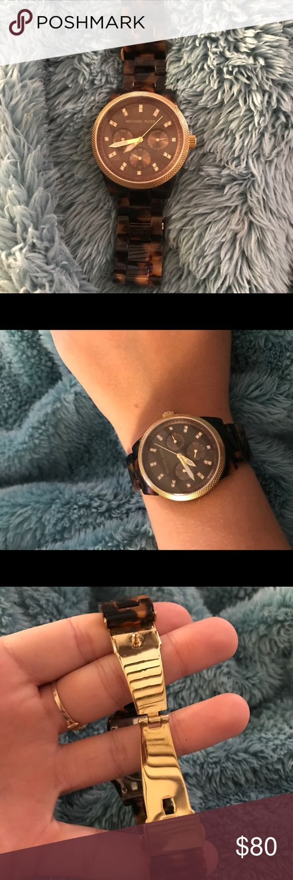 Michael Kors Tortoise Shell Watch beautiful MK watch. lightly worn. ZERO scratches. needs battery replaced which costs 10-15$ at a jeweler. links can be taken out for custom fit! Michael Kors Accessories Watches